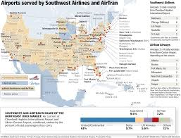 Map Of Northeast Ohio by Low Fare Marriage Of Southwest Airlines And Airtran Airways May Be
