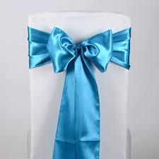 teal chair sashes aqua blue satin chair sash