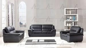 Real Leather Sofa Set by 2 Pcs Black Genuine Leather Sofa Set W Wooden Trim Armrest W