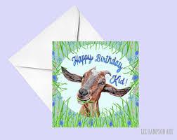 goat birthday card etsy