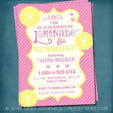 lemonade and sunshine baby or bridal shower invite yellow and