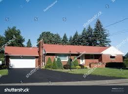 American One Story Ranch Style House Stock Photo 4308337