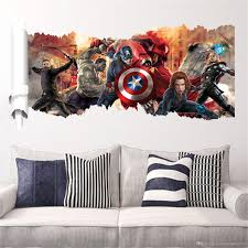 Home Decor Wholesalers Usa Cartoon Wall Stickers Avengers Home Décor America 3d Wall Sticker