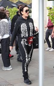 Skeleton Jumpsuit Kris Jenner Gets Into Halloween Spirit In A Skeleton Jumpsuit With