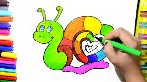 learn colors for kids and color rainbow heart snail coloring pages