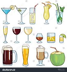 martini cup cartoon vector set cartoon cocktails alcohol drinks stock vector 282738044
