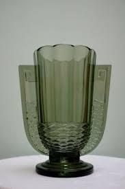 Deco Vase Art Deco Pressed Amber Glass Vase Marked Fait En Belgique