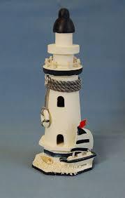 nautical seaside theme white blue wooden lighthouse ornament m
