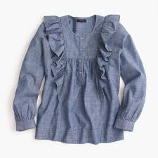 ruffle front chambray top women shirts u0026 tops j crew