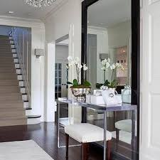 entrance table and mirror floor mirror behind table design ideas