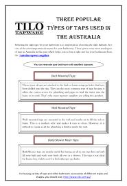 three popular types of taps used in the australia