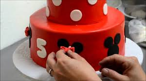 Red Minnie Mouse Cake Decorations How To Make Decorate A Mini Mouse Cake Youtube