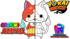 how to color jibanyan yo kai watch coloring page youtube