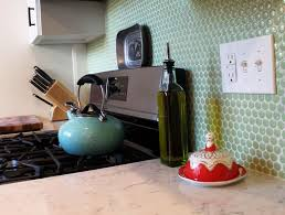penny round tile kitchen backsplash home design ideas