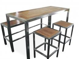stainless steel bar table stainless steel teak setting bar table bench and stool