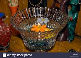 Deepavali Decorations Home Floating Candles Of Different Colors In A Glass Bowl This Was