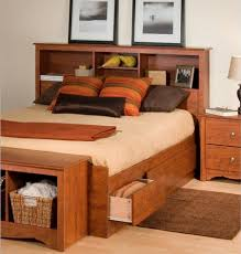 King Size Bed Head Designs Bedroom Queen Storage Bed With Bookcase Headboard For Additional
