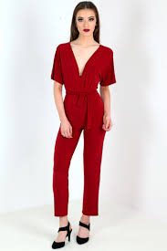 wine jumpsuit kimono tie waist wide leg jumpsuit from premier glam