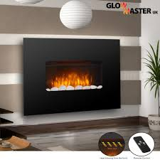 electric fire fireplace widescreen flicker flame black glass wall