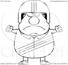 cartoon clipart of an outlined angry race car driver black and