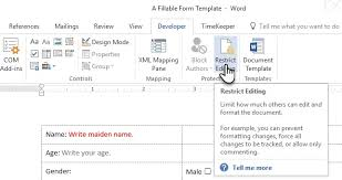 design form in word make a fillable form in word 2016 collect data the easy way