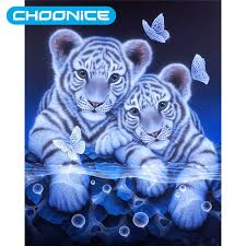 painting white tiger baby diy 3d embroidery mini