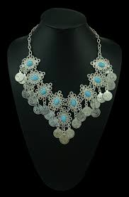 boho necklace set images 2018 new fashion silver turkish coin statement necklace earring jpg