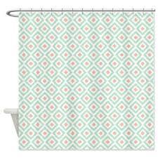 Mint Shower Curtain Buy Cafepress Mint Coral Diamonds Ikat Shower Curtain Standard