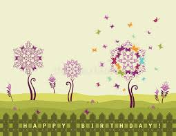happy birthday card with flowers stock image image 12254671