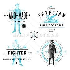vector clothing label and vintage logo template set snap vectors