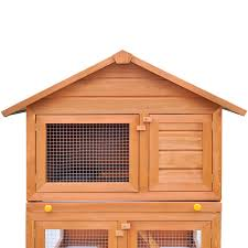 Metal Rabbit Hutch Outdoor Rabbit Hutch Small Animal House Pet Cage 3 Layers Wood