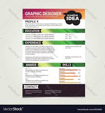 Resume Vector Resume Template Cv Creative Background Royalty Free Vector