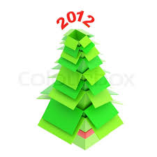 christmas tree made of green cardboard boxes one inside another