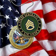 Us Military Flags U S Army Staff Sergeant Rank Insignia And Army Seal Over