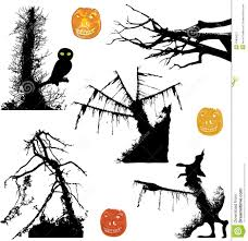 halloween ghostly silhouettes of trees and pumpkin stock vector