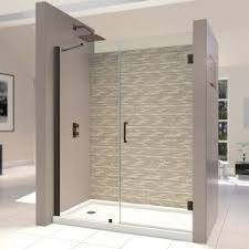 bathroom kohler levity shower door with bright wall painting and