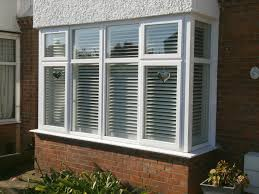 exterior view of box bay window plantation shutters in white