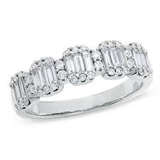 baguette diamond band 3 4 ct t w baguette and diamond band in 14k white gold