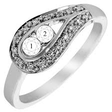 mothers rings 2 stones 2 mothers ring in 14kt white gold with diamonds 1 20ct tw