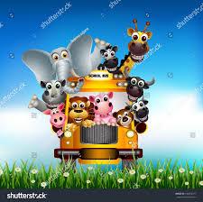 funny animal cartoon on yellow car stock vector 140453377