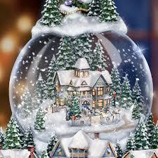 light up snow globe thomas kinkade wondrous winter musical tabletop christmas tree