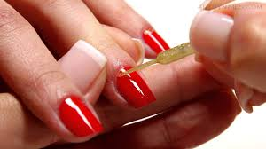 red and glitter reverse french manicure youtube