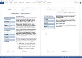 Sheet Template Word Fact Sheet Template Ms Word