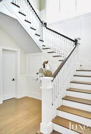 Dark Wood Banister Transitional White Staircase With Dark Wood Banister Luxe