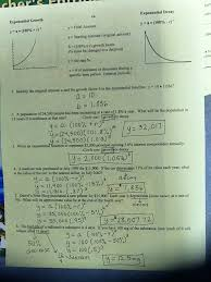 exponential growth worksheets worksheets