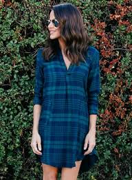 v neck long sleeve high low plaid dress with pockets oasap com