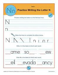 letter n worksheets printable handwriting worksheet