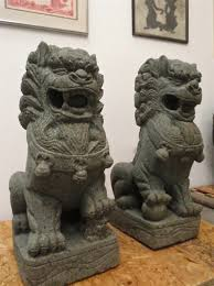 large foo dog lion statues buddhist temple imperial palace fu dog