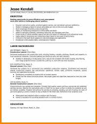 General Labor Resume Objective 5 Basic Sample Resume Objective Character Refence