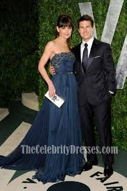 Vanity Fair Oscar Party Katie Holmes Navy Blue Evening Dress 2012 Vanity Fair Oscar Party
